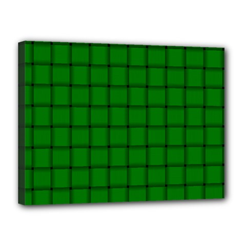 Green Weave Canvas 16  x 12  (Framed)