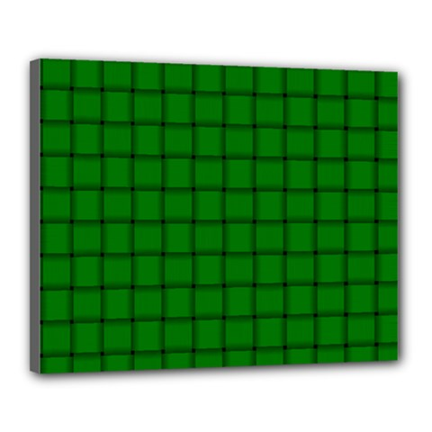 Green Weave Canvas 20  x 16  (Framed)