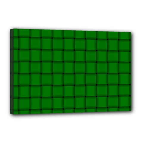 Green Weave Canvas 18  X 12  (framed)