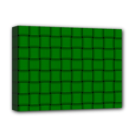 Green Weave Deluxe Canvas 16  x 12  (Framed)