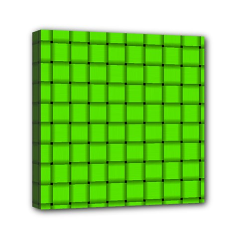Bright Green Weave Mini Canvas 6  X 6  (framed)