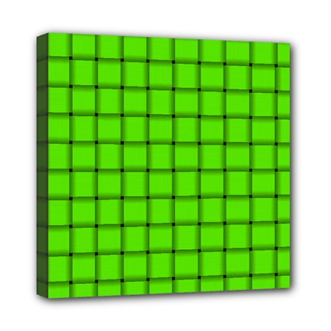 Bright Green Weave Mini Canvas 8  x 8  (Framed)