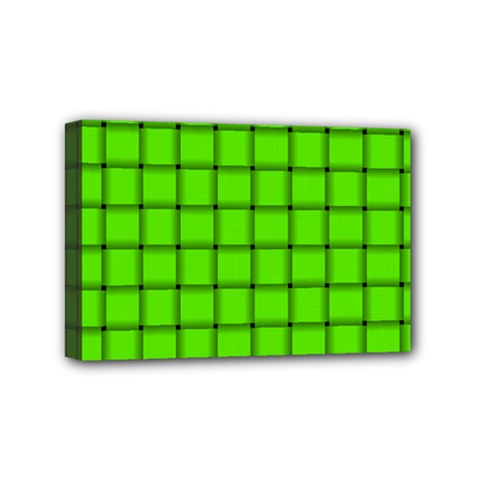 Bright Green Weave Mini Canvas 6  X 4  (framed)
