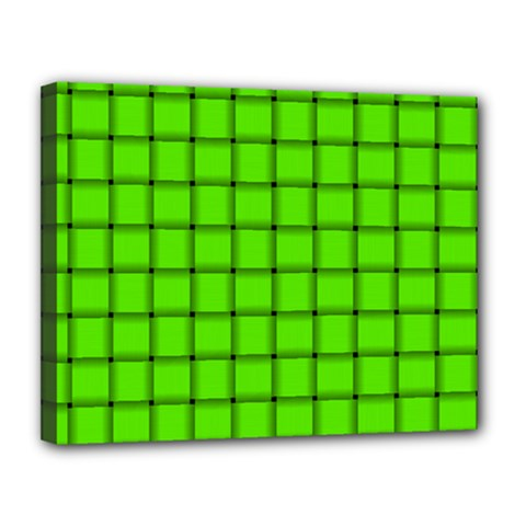 Bright Green Weave Canvas 14  X 11  (framed)