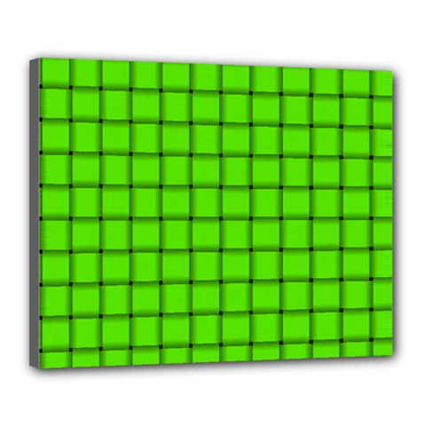 Bright Green Weave Canvas 20  x 16  (Framed)