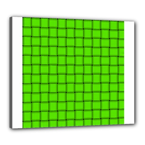 Bright Green Weave Canvas 24  X 20  (framed)