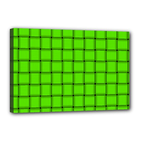 Bright Green Weave Canvas 18  x 12  (Framed)