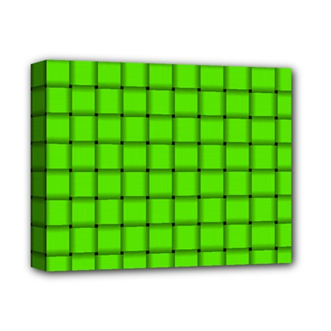 Bright Green Weave Deluxe Canvas 14  x 11  (Framed)