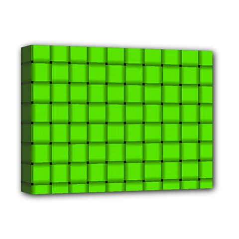 Bright Green Weave Deluxe Canvas 16  x 12  (Framed)