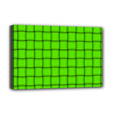 Bright Green Weave Deluxe Canvas 18  x 12  (Framed)