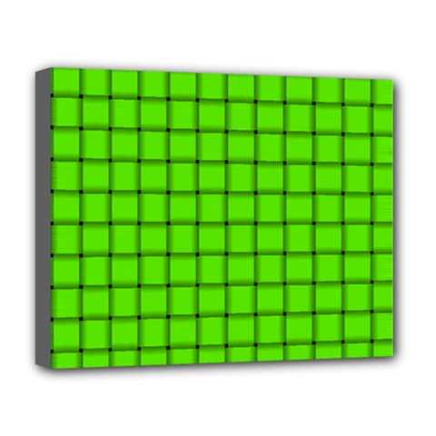 Bright Green Weave Deluxe Canvas 20  x 16  (Framed)