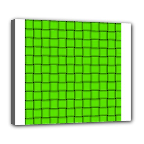 Bright Green Weave Deluxe Canvas 24  X 20  (framed)