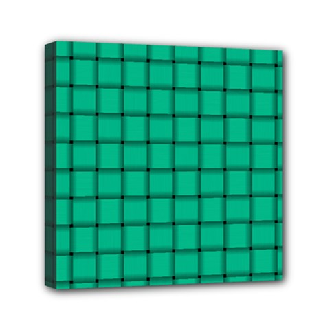 Caribbean Green Weave Mini Canvas 6  X 6  (framed)
