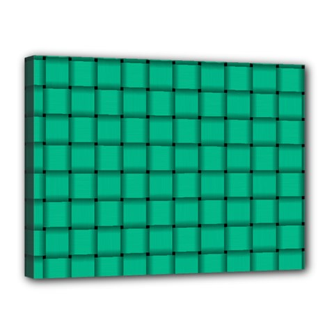 Caribbean Green Weave Canvas 16  x 12  (Framed)