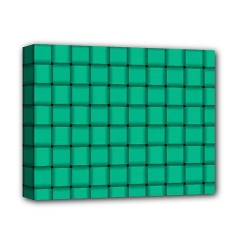 Caribbean Green Weave Deluxe Canvas 14  X 11  (framed)