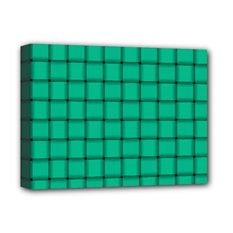 Caribbean Green Weave Deluxe Canvas 16  X 12  (framed)