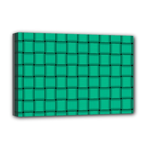 Caribbean Green Weave Deluxe Canvas 18  x 12  (Framed)