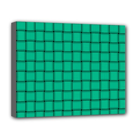 Caribbean Green Weave Deluxe Canvas 20  x 16  (Framed)