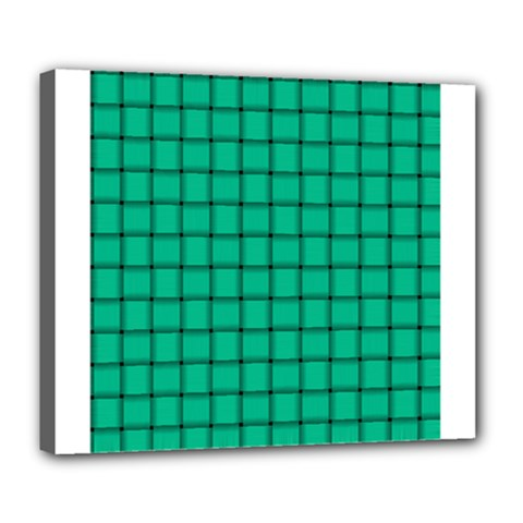 Caribbean Green Weave Deluxe Canvas 24  X 20  (framed)