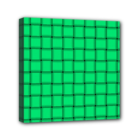 Spring Green Weave Mini Canvas 6  x 6  (Framed)