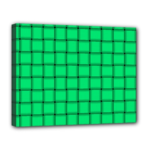 Spring Green Weave Canvas 14  x 11  (Framed)