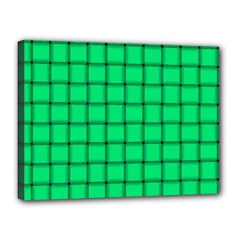 Spring Green Weave Canvas 16  X 12  (framed)