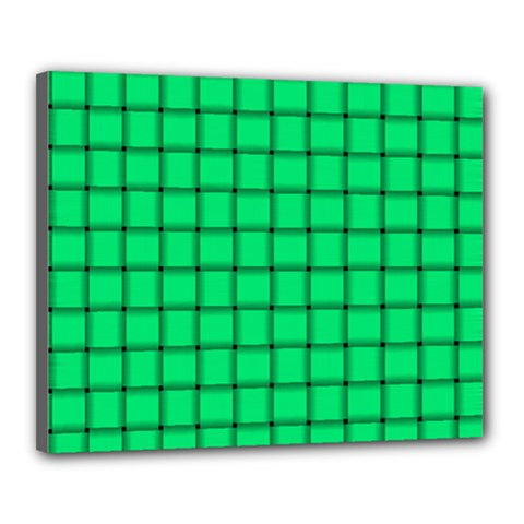 Spring Green Weave Canvas 20  x 16  (Framed)