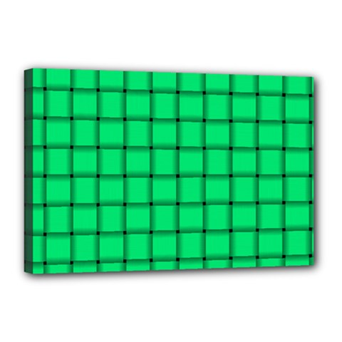 Spring Green Weave Canvas 18  x 12  (Framed)