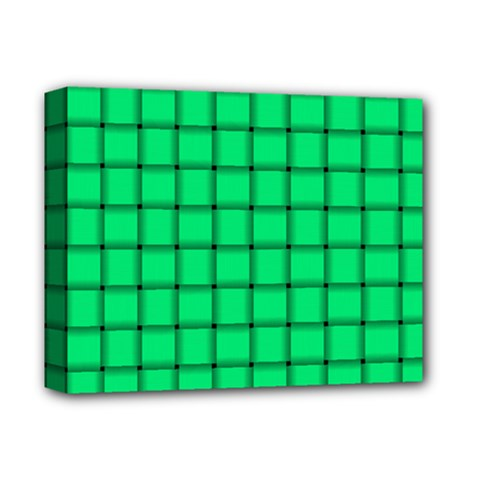Spring Green Weave Deluxe Canvas 14  x 11  (Framed)