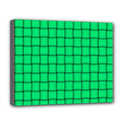 Spring Green Weave Deluxe Canvas 20  X 16  (framed)