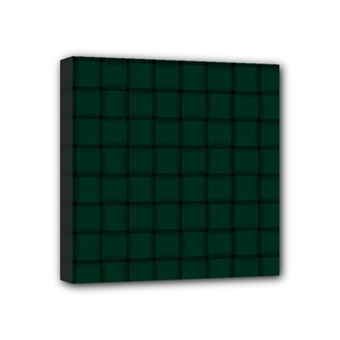Dark Green Weave Mini Canvas 4  X 4  (framed)