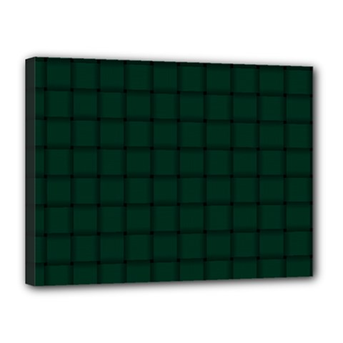 Dark Green Weave Canvas 16  X 12  (framed)