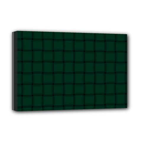 Dark Green Weave Deluxe Canvas 18  x 12  (Framed)