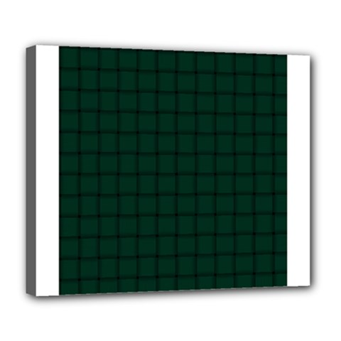 Dark Green Weave Deluxe Canvas 24  x 20  (Framed)