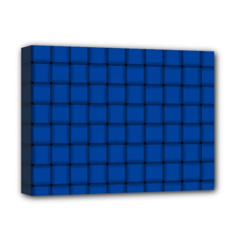 Cobalt Weave Deluxe Canvas 16  x 12  (Framed)