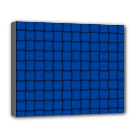 Cobalt Weave Deluxe Canvas 20  X 16  (framed)