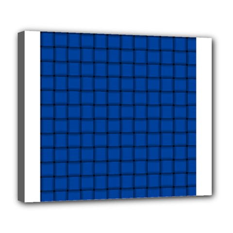 Cobalt Weave Deluxe Canvas 24  x 20  (Framed)
