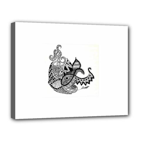 Petal Doodle Canvas 14  x 11  (Framed)