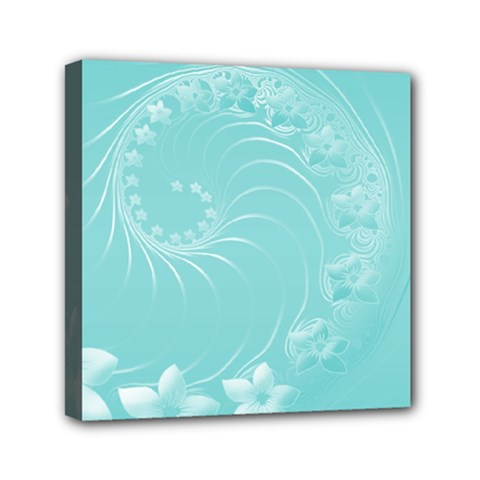 Cyan Abstract Flowers Mini Canvas 6  X 6  (framed)