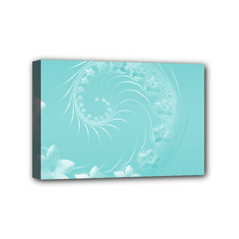 Cyan Abstract Flowers Mini Canvas 6  x 4  (Framed)