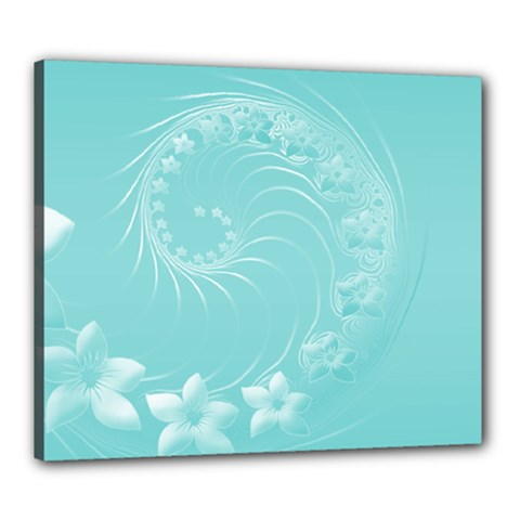 Cyan Abstract Flowers Canvas 24  x 20  (Framed)