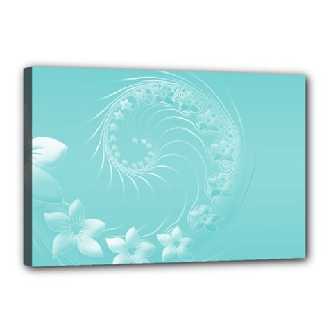 Cyan Abstract Flowers Canvas 18  x 12  (Framed)
