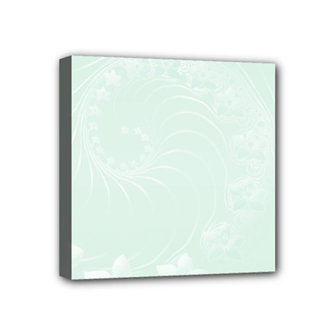 Pastel Green Abstract Flowers Mini Canvas 4  x 4  (Framed)