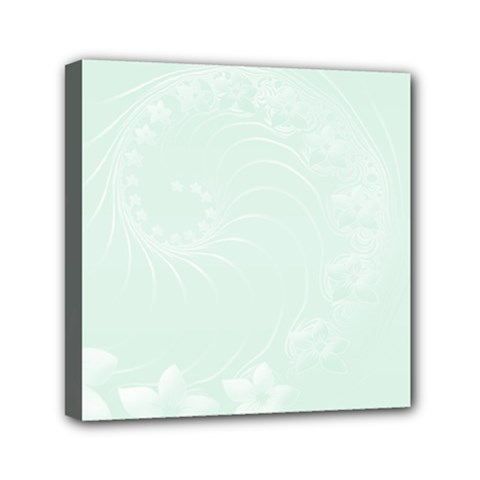 Pastel Green Abstract Flowers Mini Canvas 6  x 6  (Framed)