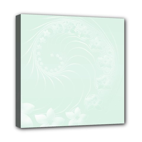 Pastel Green Abstract Flowers Mini Canvas 8  X 8  (framed)
