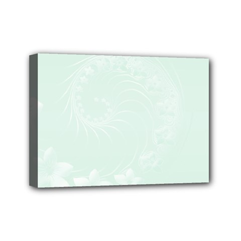 Pastel Green Abstract Flowers Mini Canvas 7  X 5  (framed)