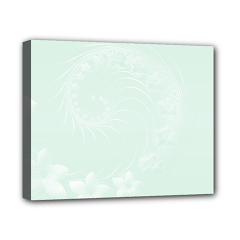 Pastel Green Abstract Flowers Canvas 10  X 8  (framed)