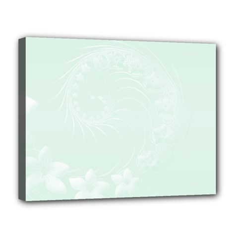 Pastel Green Abstract Flowers Canvas 14  X 11  (framed)