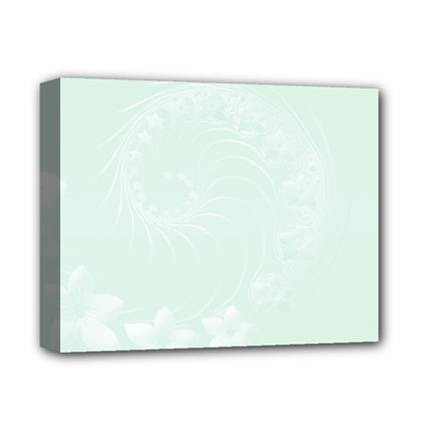 Pastel Green Abstract Flowers Deluxe Canvas 14  X 11  (framed)