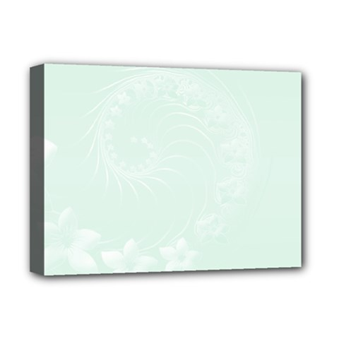 Pastel Green Abstract Flowers Deluxe Canvas 16  x 12  (Framed)